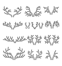 Outlined deer antlers black silhouettes set vector