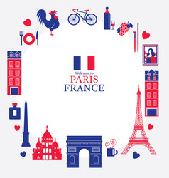 Paris france landmarks and travel objects frame vector