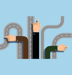 people hands point direction choice road vector image