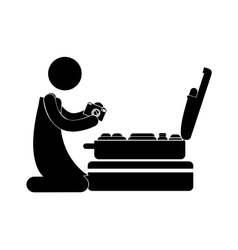 Person kneeling with camera and baggage vector
