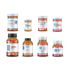 Pill bottles realistic medical glass containers vector