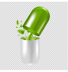 Pill wit leaf vector
