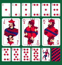 Poker playing cards diamond suit set vector