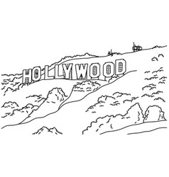 popular inscription hollywood sign vector image