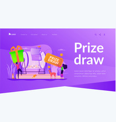 Prize draw landing page template vector