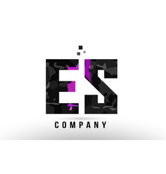 Purple black alphabet letter es e s logo vector