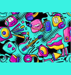 seamless pattern with cartoon musical items vector image