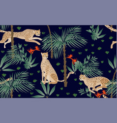seamless pattern with tropical print on a beige vector image