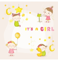 Set of Cute Baby Girl - for Baby Shower vector image