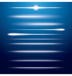 Set of Neon Lens Flares on Blue Background vector