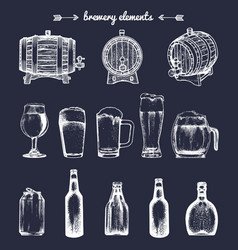 set vintage brewery elements collection vector image