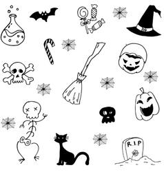 Set with halloween doodle vector image
