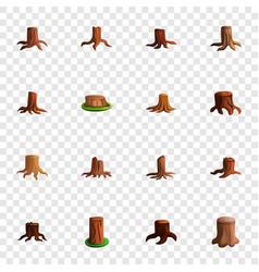 stump tree icon set cartoon style vector image