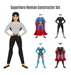 Superhero woman constructor set vector