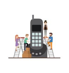 Teamwork mini people doing wireless phone vector