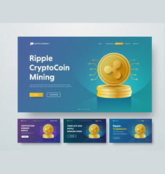 Template header with gold piles of coins ripple vector
