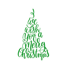 We wish you a merry christmas hand lettering vector