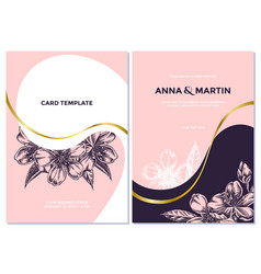 Wedding invitation card with pink almond vector