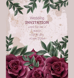 wedding invitation with roses beautiful vector image