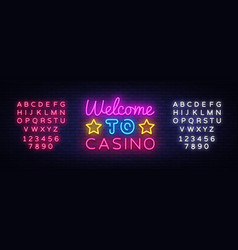 welcome to casino sign design template vector image