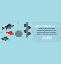 Winter fishing on ice banner horizontal concept vector