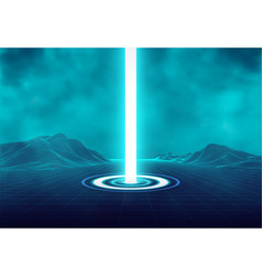 wireframe retro landscape futuristic blue neon vector image