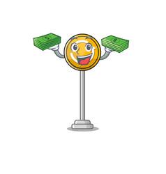 With money bag roundabout ahead cartoon shape vector