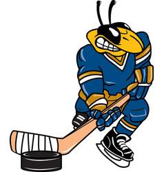yellow jacket sports logo mascot hockey vector image