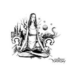 Yoga girl looking for inner peace with urban city vector