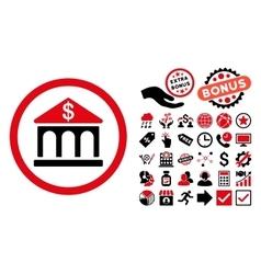 Bank Building Flat Icon with Bonus vector image vector image