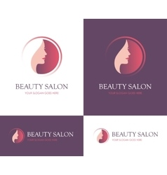 Beauty salon round logo vector image