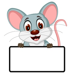 cute mouse cartoon posing with blank sign vector image vector image