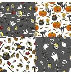 Halloween seamless pattern set vector image vector image