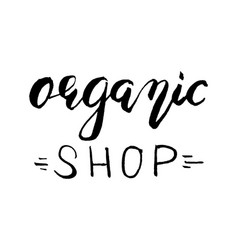 organic shop label hand drawn brush lettering vector image
