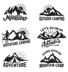 set of mountains adventure outdoor camping vector image