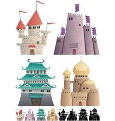 Cartoon castles on white vector