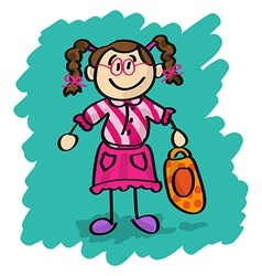 Cute cartoon little girl vector image vector image