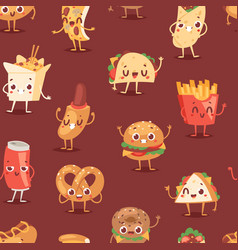 Fast food smile cartoon expression vector