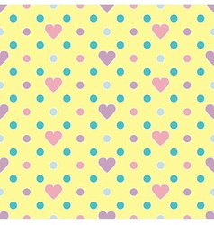 Polka dot and hearts vector image vector image