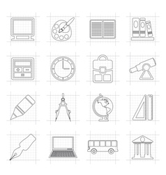 School and education icons vector image