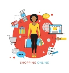 Woman doing shopping online vector image