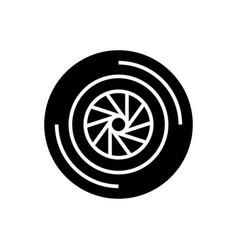 camera shutter icon black vector image