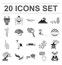 country japan monochrome icons in set collection vector image vector image