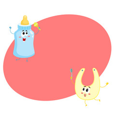 funny milk bottle and baby bib characters child vector image