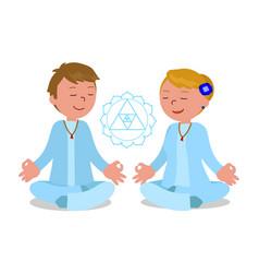 people in zen pose vector image