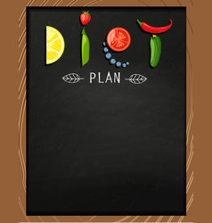 the concept of diet on the chalkboard vector image