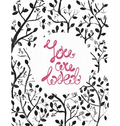 Watercolor natural with dark branches and text vector image vector image