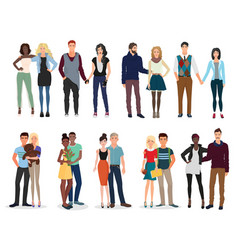 young beautiful people couples collection set vector image vector image