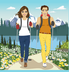 young couple hiking outdoors in summer mountains vector image vector image