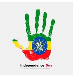 Handprint with the flag of ethiopia in grunge vector